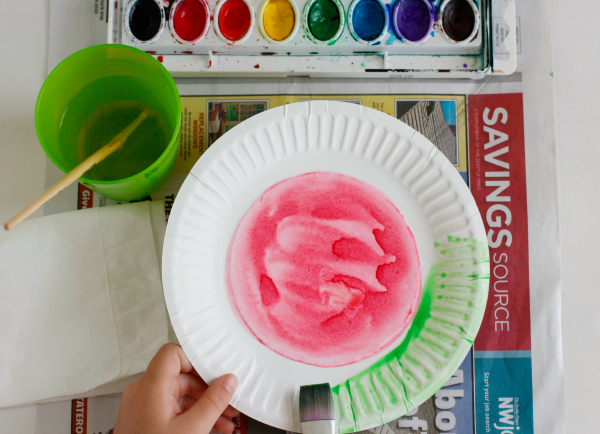 Watercoloring a Watermelon for a Frisbee Flyer Craft