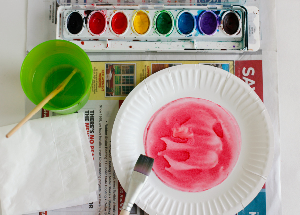 Watercoloring the Inside of a Paper Plate Watermelon