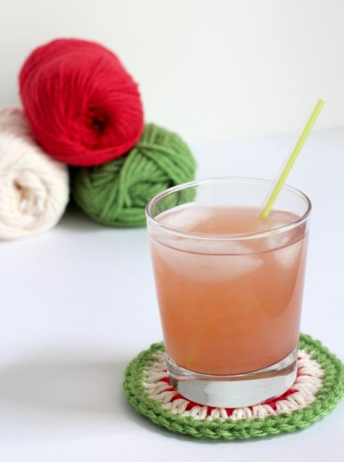 Watermelon Crochet Coaster makeandtakes.com
