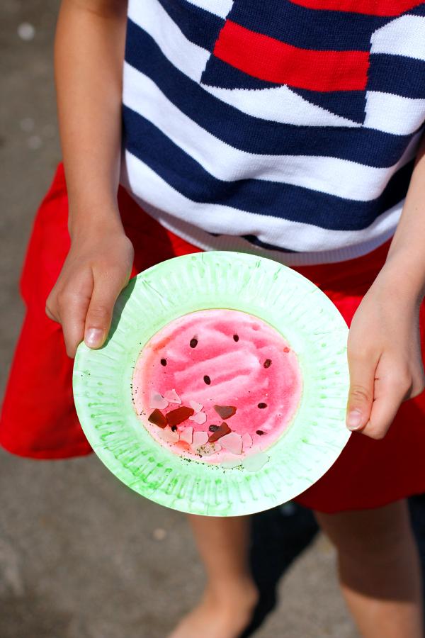 Watermelon Watercolor Paper Plate Kids Craft