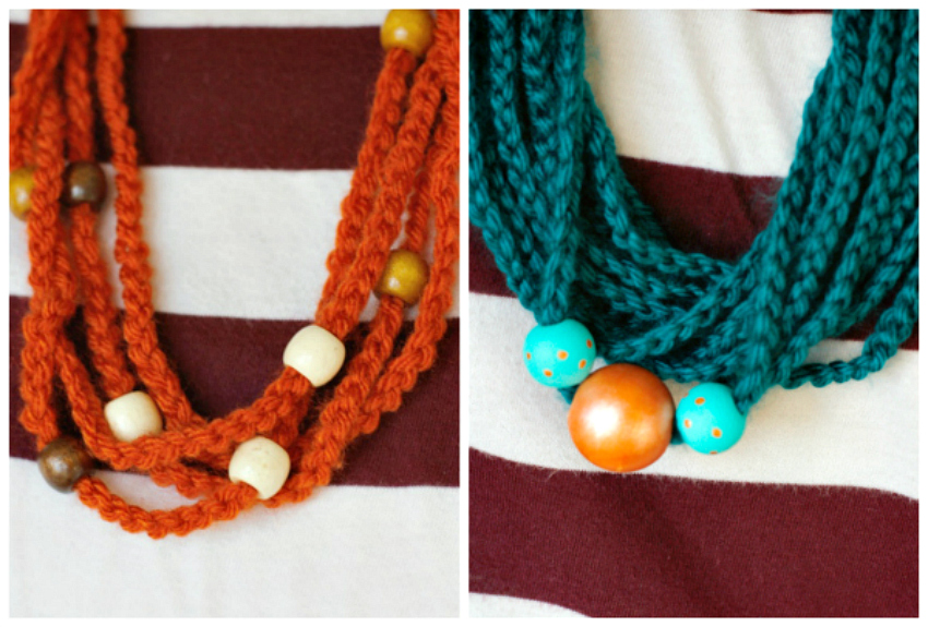 Wearing a Crochet Chain Stitch Beaded Necklace
