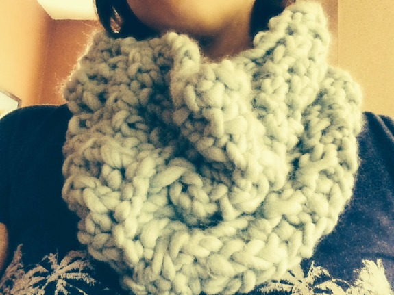 Wearing a We Are Knitters Scarf