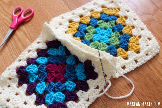 Whipstitch for Crochet Granny Square Blanket