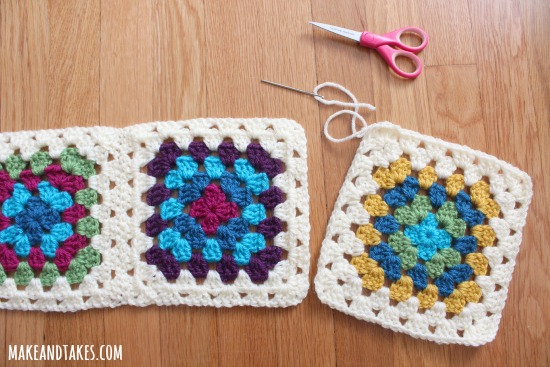 Whipstitching rows in a Granny Square Blanket