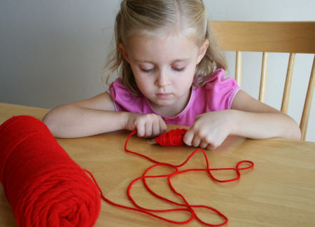 Winding Yarn Apple Pom Pom Craft