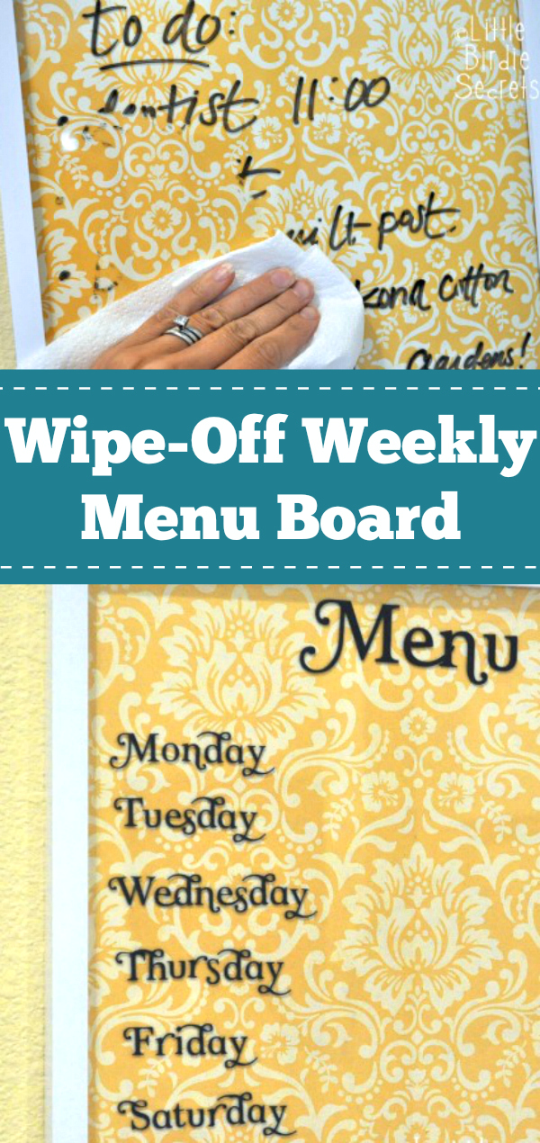 Wipe-Off Weekly Menu Board