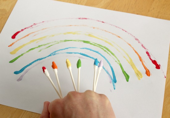 Painting Rainbow With Q Tips Make And