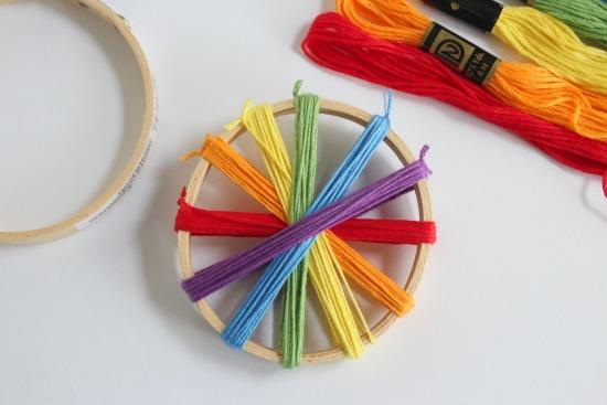 Wrapping Rainbow Thread Around a Hoop