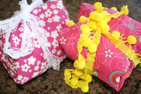Homemade Fabric Wrapping paper