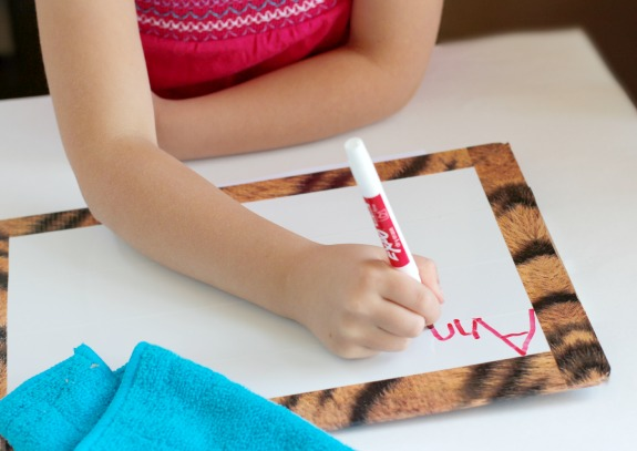 Writing on a Clipboard with Dry Erase Duct Tape