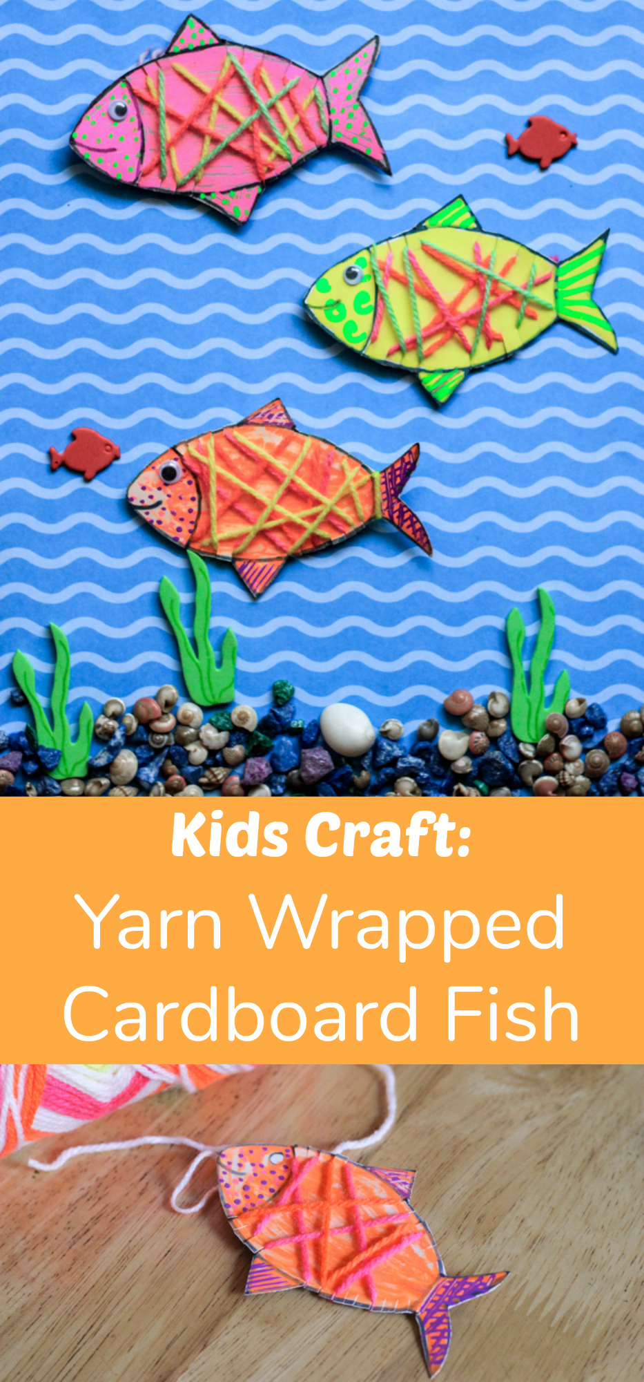 Yarn Wrapped Cardboard Fish Kids Craft