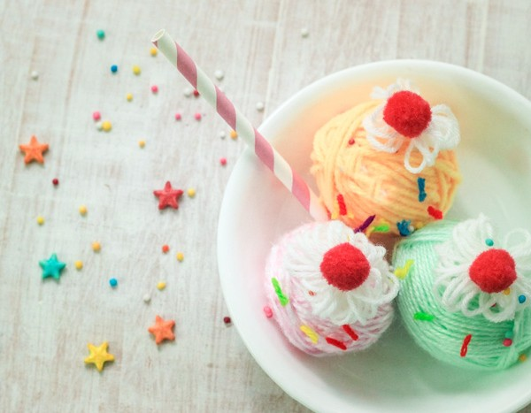 Yarn Wrapped Ice Cream Sundae Craft