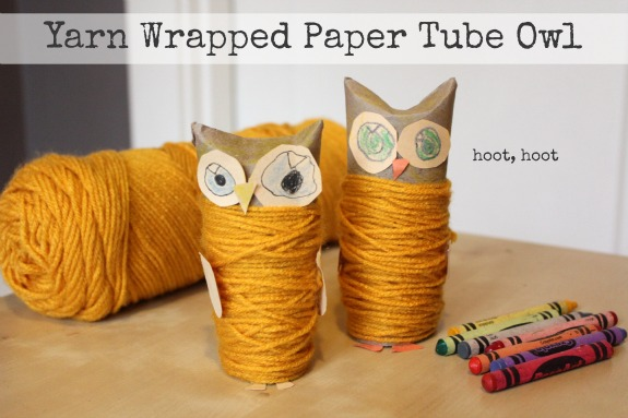 Yarn Wrapped Paper Tube Owl makeandtakes.com