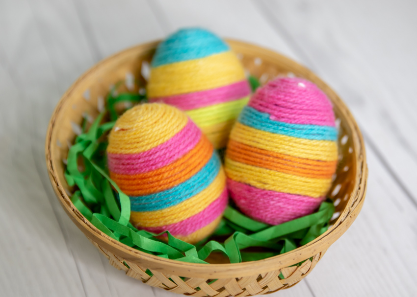 Hanging Yarn Wrapped Plastic Eggs