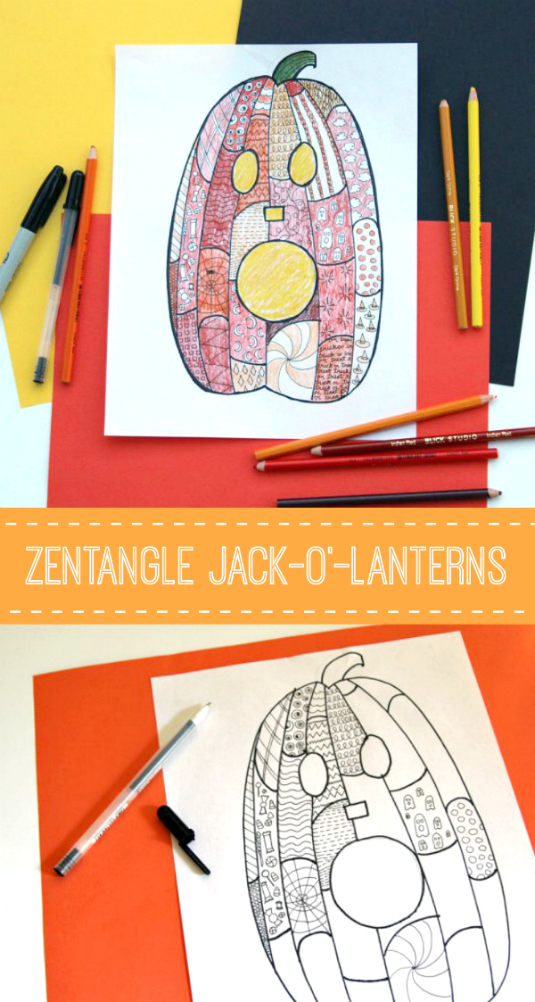 Coloring Zentangle Pumpkin Jack-o?-Lanterns