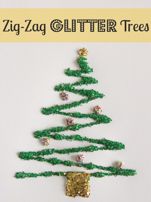 Zig-Zag Glitter Trees makeandtakes.com