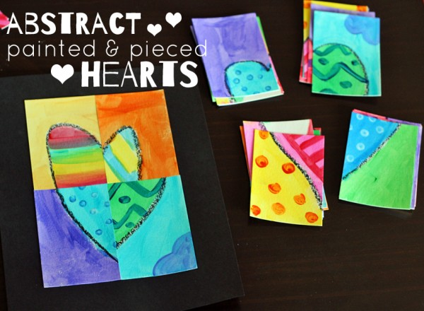 Abstract painted and pieced hearts for Valentine's Day