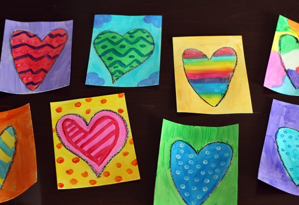 Colorful painted hearts art project