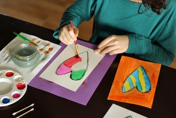 Paint, cut, reassemble heart art