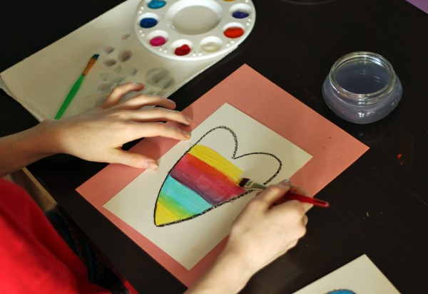 Colorful abstract painted hearts project