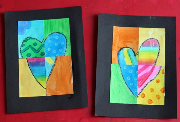 Abstract painted and pieced hearts art project