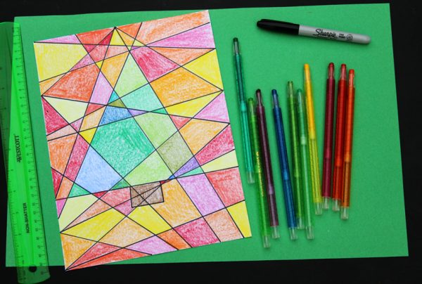 Colorful abstract Christmas tree art project