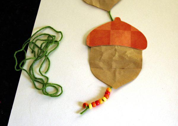 Beaded acorn garland