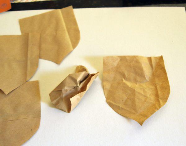 Crumpling paper bag acorns