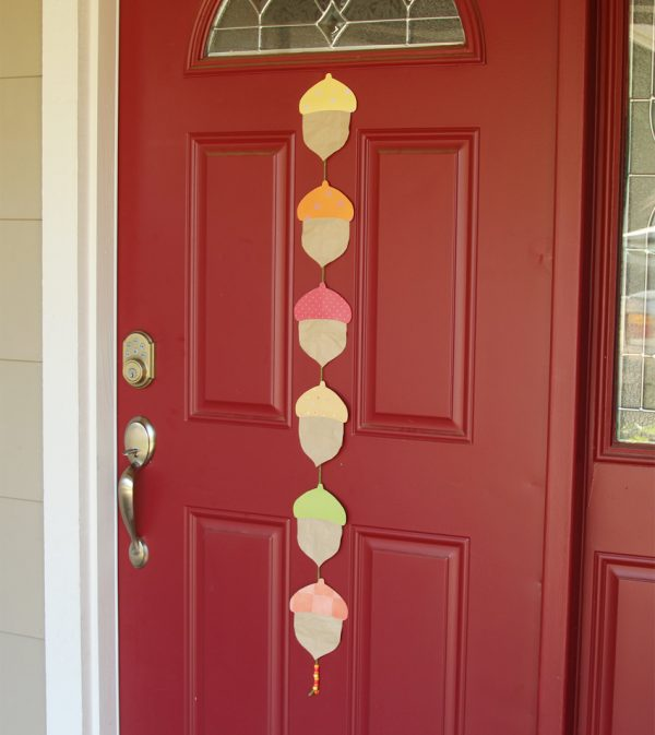 Hanging acorn garland for front door