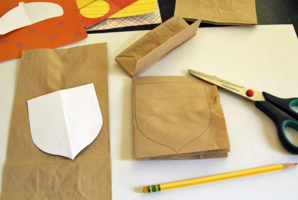 Make paper acorns with lunch bags