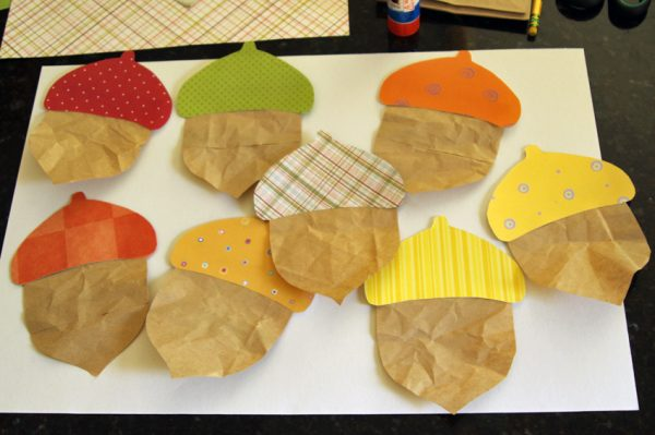 Colorful paper acorn craft for kids