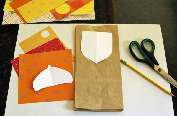 Paper acorn garland with lunch bags