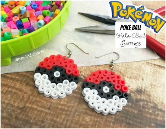 Pokéball Perler Bead Earrings
