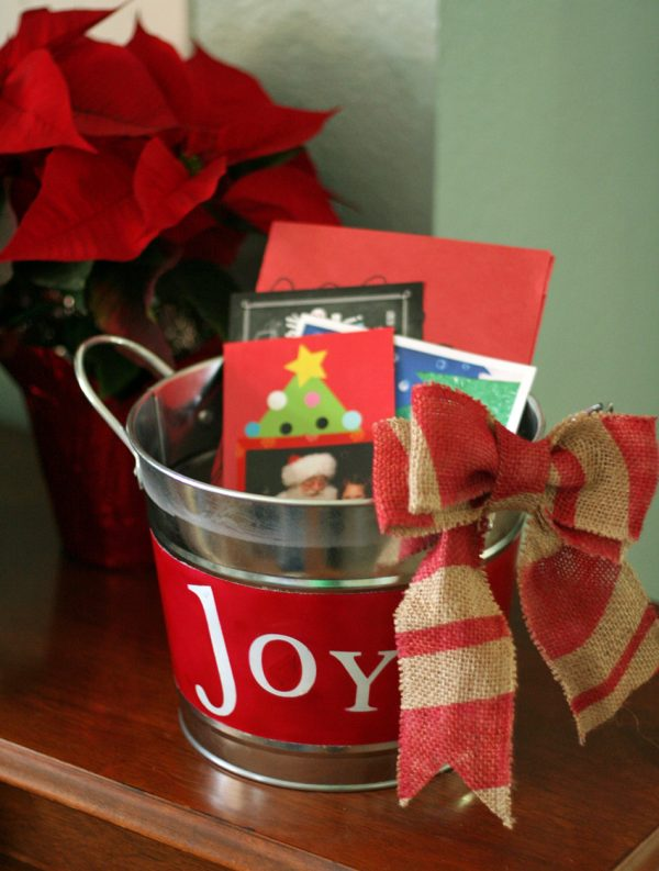 Airbrushed Christmas Card Holder Bucket