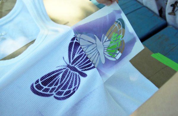 Airbrushed butterfly tank top