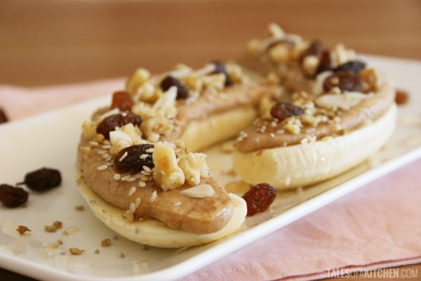 Open Face Banana Almond Butter Sandwich