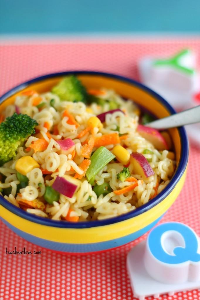 Alphabet Rainbow Pasta Salad