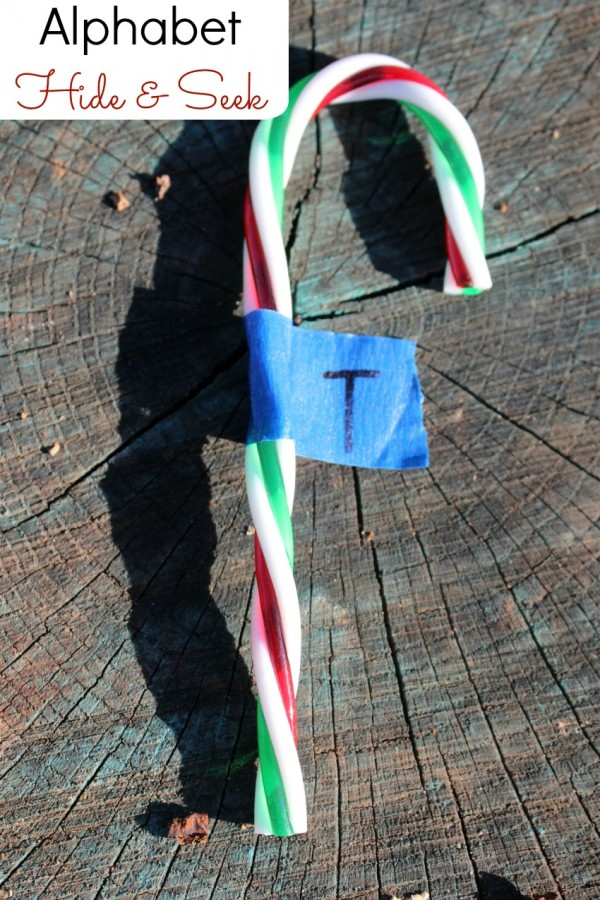 Candy Cane alphabet activity for preschoolers