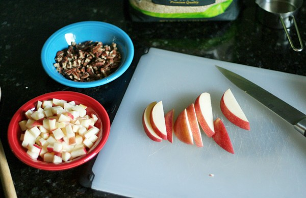 Apple cider quinoa with toppings