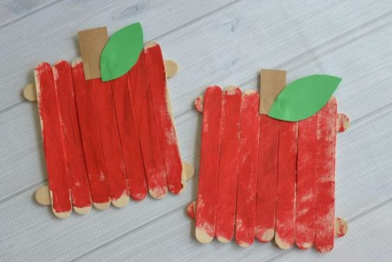Popsicle Sticks Apple Craft