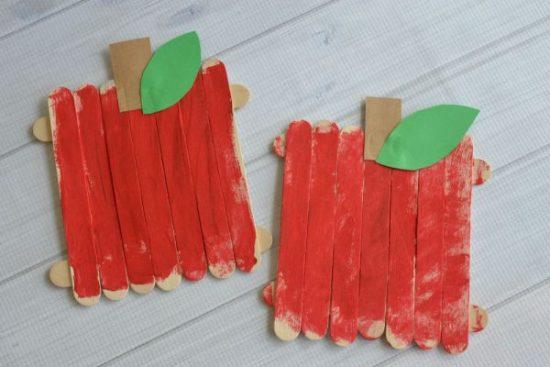 Popsicle Sticks Apple Craft