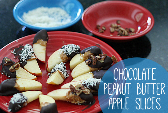 Chocolate peanut butter apple slices