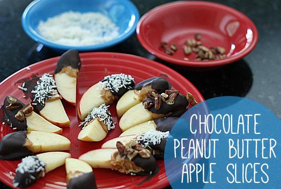Chocolate peanut butter apple slices