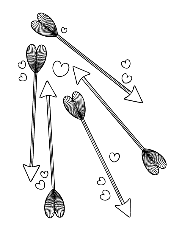 Cupid's Arrows Coloring Page