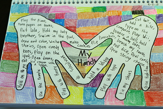 My Hands art journal page for kids