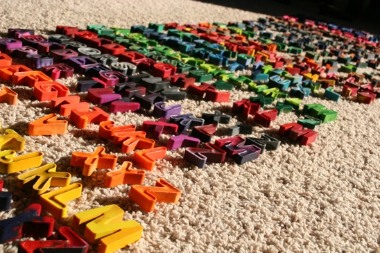 Recycled Alphabet Crayons