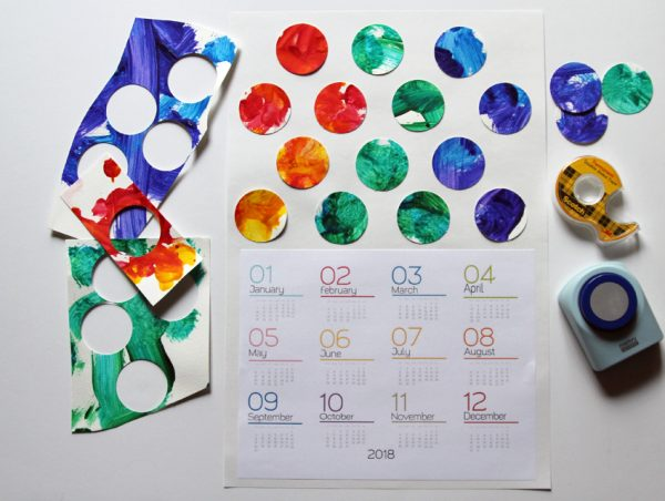 Colorful Modern Yearly Calendar (made with your kid's art!)