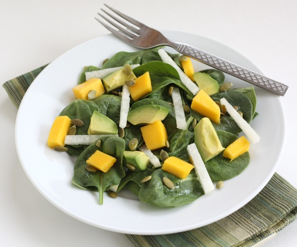 Spinach Salad with Mango, Avocado, Jicama, and Pepitas Recipe