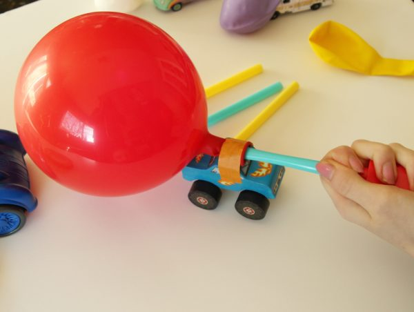 Explore forces and motion with toy car balloon racers