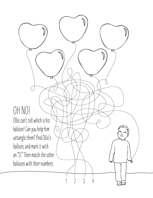 Heart Balloon Maze Coloring Page